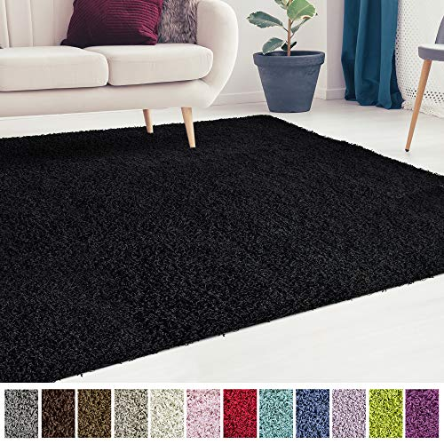 iCustomRug Cozy and Soft Solid Shag Rug 6X6 Black Square Area Rug Ideal to Enhance Your Living Room and Bedroom Decor