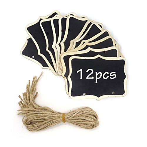 Honbay 12PCS 8.5x6cm/3.35x2.36inch Mini Chalkboards Signs Hanging Blackboard Double Side Rectangle Message Board Signs for Party Decoration, Weddings, Garden, DIY -