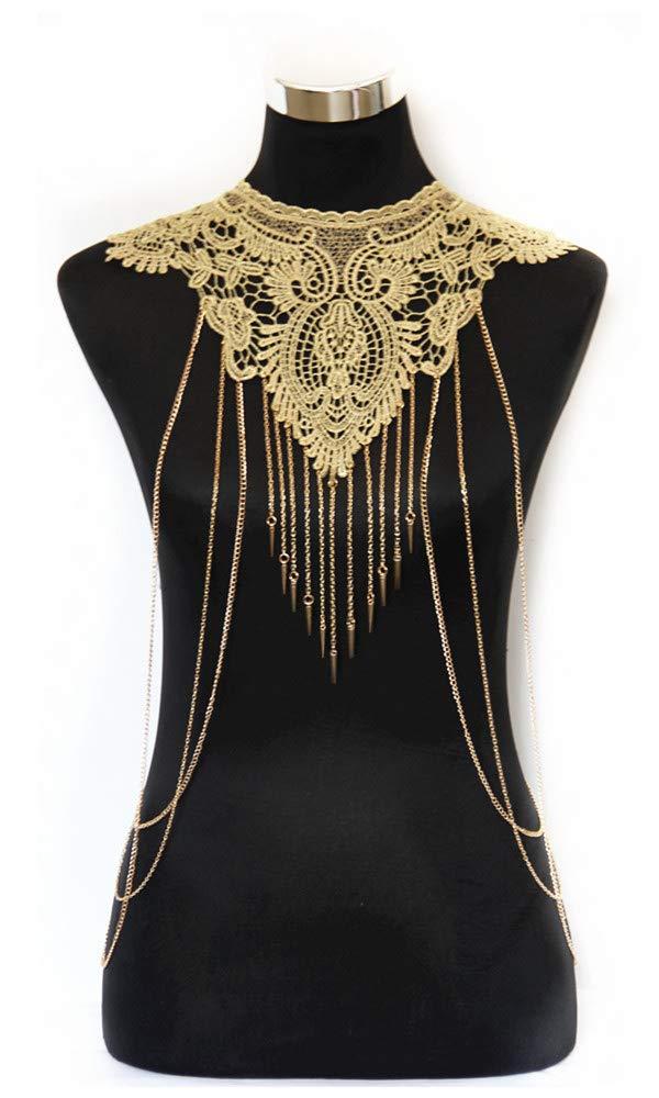 JoJo & Lin Gold Fine Chain Flower Lace Body Chain Bikini Summer (C)