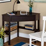 Wooden Corner Writing Desk with 1 Drawer and 2 shelves in Espresso