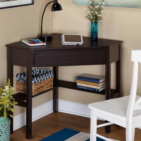 Wooden Corner Writing Desk with 1 Drawer and 2 shelves in Espresso by Simple Living