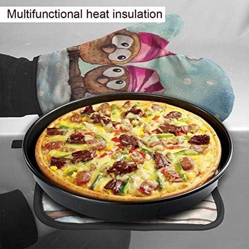 NiWCGP Weihnachts-Eule Schneeflocke Hitzerbeständige Ofenhandschuhe rutschfeste Küchenhandschuhe Handschuhe für Backen, Kochen, BBQ