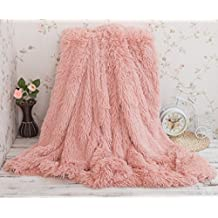 """Soffte Cloud Soft Warm Fuzzy Long Plush Fannel Blanket Throw lightweight Cozy Bed Couch Blanket Throw Dirty Pink(51""""x63"""")"""