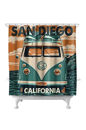 San Diego, California - Camper Van Letterpress 50746 (74x74 Polyester Shower Curtain) (San Diego & Barrel Crate)
