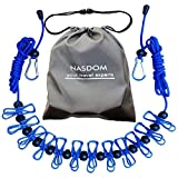 Nasdom Travel Clothesline,4m/13ft Portable Retractable Adjustable Clothes Line Rope with 1 Waterproof Bag, 12 Clothespins, 13 Anti-Skid Clips for Outdoor and Indoor(Blue)