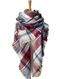 Women's Tassels Soft Plaid Tartan Scarf Winter Large Blanket Wrap Shawl