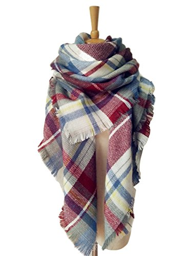 AUSELILY Women`s Stylish Warm Tassels Soft Plaid Tartan Scarf Blanket Wrap Shawl (One size, Fuchsia)