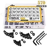 3D Printer Kit - VIGRUE M3 M4 M5 Alloy Steel Hex Socket Button Head Cap Nuts Flat Washers Kit Black Screw Assortment (570 PCS)