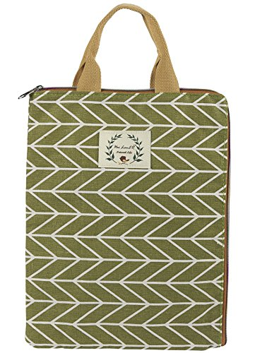 Multifunctional Canvas File Folder - Laptop Briefcase Portable Holder or A4 Document Paper Organizer Portfolio Bag with Handle and Zipper in Green Leaf with White Stripe Pattern Design ()