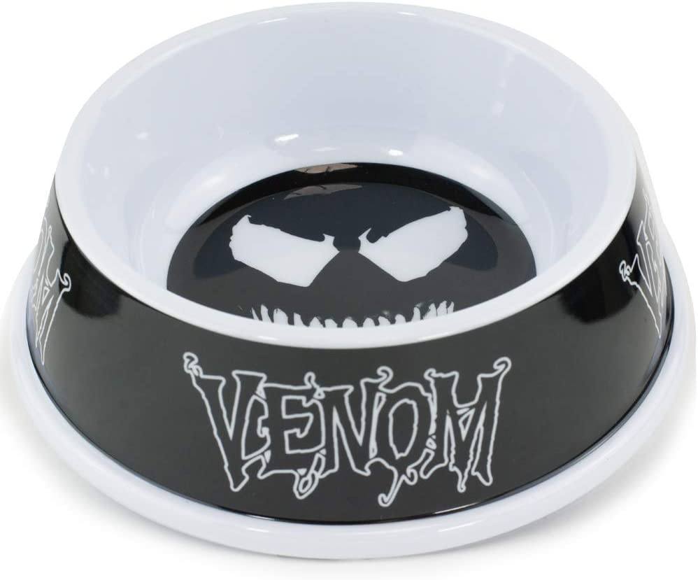 Buckle-Down Dog Food Bowl Venom Face Icon Text Black Grays White 16 Ounces