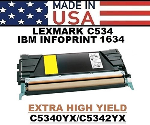 High Yield C534 Extra - ALL CITY - USA Remanufactured Extra High Yield Yellow Toner Replacement for Lexmark C534
