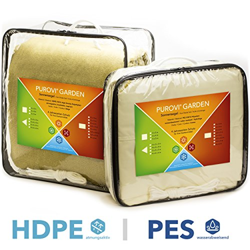 Purovi® Sonnensegel Rechteck | verschiedene Größen | UV Schutz | wasserabweisend PES oder atmungsaktiv HDPE | 3m x 4m aus PES