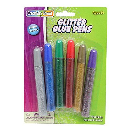 (Creativity Street 85754  AC3370DI Non-Toxic Glue Stick Set, 10 cc Tube, Assorted Glitter Color (Pack of 6), White)