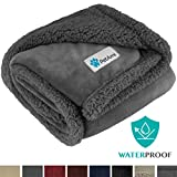 PetAmi Waterproof Dog Blanket for Medium Dogs, Puppies, Small Cats | Soft Sherpa Fleece Pet Blanket Throw for Sofa, Couch | Thick Durable Pet Bed Cover Floor Mat 30 x 40 inches (Grey Grey)