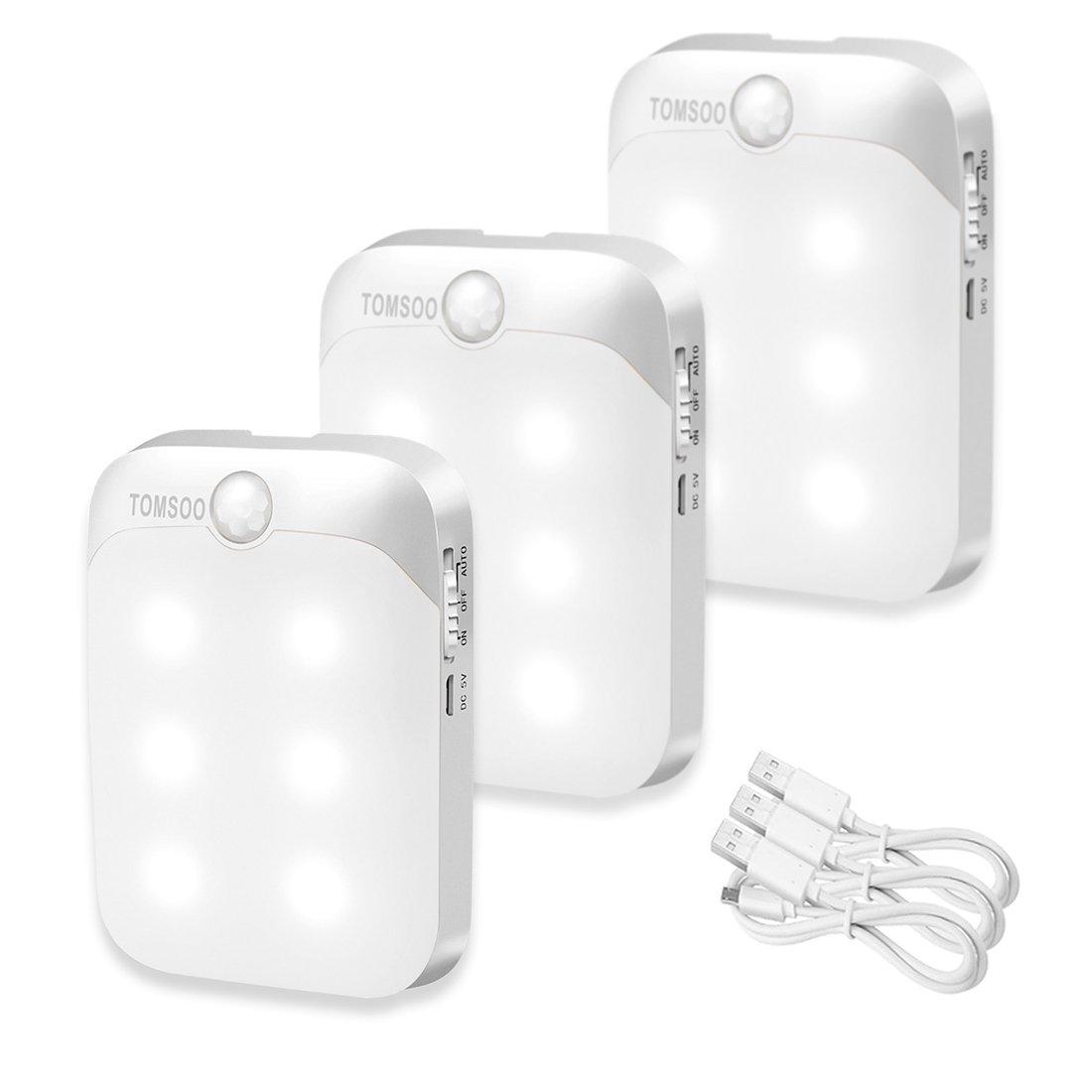 tomsoo充電式バッテリ駆動式モーションセンサーライトライトコードレスモーション検知LEDナイトライト、クローゼット、階段、ライト、安全ライトfor廊下、クローゼット、バスルーム、ベッドルーム、キッチン TOMSOO12314 B075S481TF 12251 ウォームホワイト(Warm White)