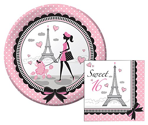 Party in Paris Sweet 16 Lunch Napkins & Dinner Plates Party Kit for -