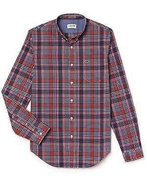 Lacoste Men's Men's Orange Checked Shirt in Size 44-XL Orange