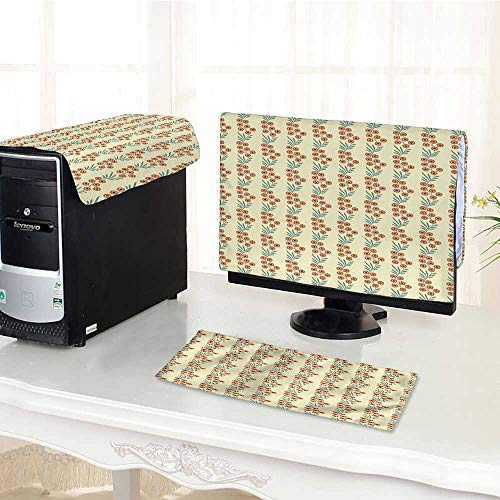 Auraisehome Keyboard dust Cover Computer 3 Pieces Spring Flowers and Leaves Flourishing on Braches Pattern ES Cream Orange and Jade Computer dust Cover /26