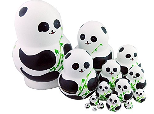 Winterworm Set of 15 Panda with Bamboo Nesting Dolls Matryoshka Russian Doll Popular Handmade Kids Girl Gifts Christmas Toy by Winterworm (Image #2)