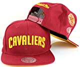 Mitchell & Ness NBA Team Logo History Flat Brim Snapback Cap (Adjustable, Cleveland Cavaliers, Maroon)