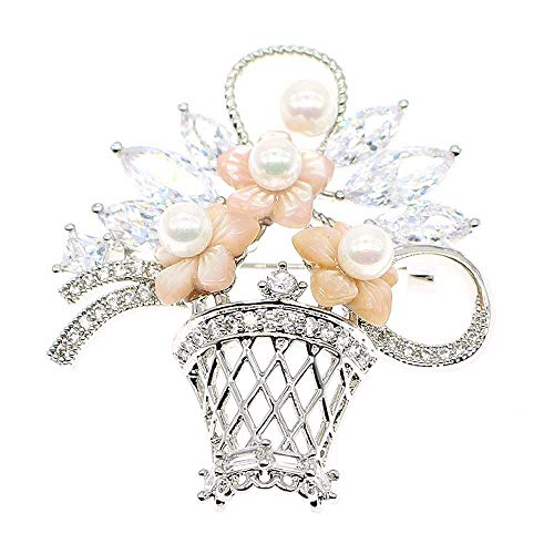 HSQYJ Vintage Flower Basket Pearl Brooches Pin Zircon Crystal Brooch Premium Elegant Unisex Palace Retro Brooch for Bridal Wedding Party Corsage Female Scarf Jewelry Accessories