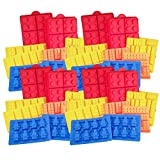 Building Brick + Minifigure Silicone Ice Cube Trays, Jello, Gummy Candy & Cake Baking Molds For Lego Lovers (4 Sets) - 40 Pcs