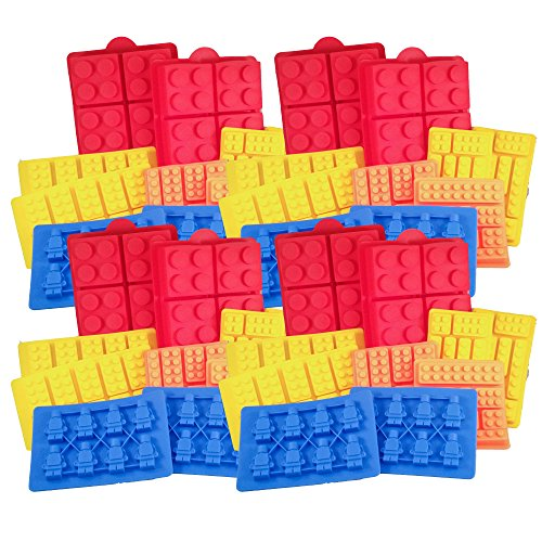 Building Brick + Minifigure Silicone Ice Cube Trays, Jello, Gummy Candy & Cake Baking Molds For Lego Lovers (4 Sets) - 40 Pcs by Casenda