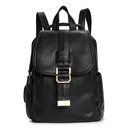 Women Fashion Backpack Purses, PU Leather Backpack Shoulder Bag Casual Day Pack Book Bag Knapsack for School Travel Black by DDDH