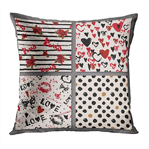 Menmek Throw Pillow Cover Decorative Collection Stylish Romantic Patterns Love Paris Hidden Zipper Car Sofa Meeting Room Home Decor Cushion Cover Pillowcase 16 x 16 Inch