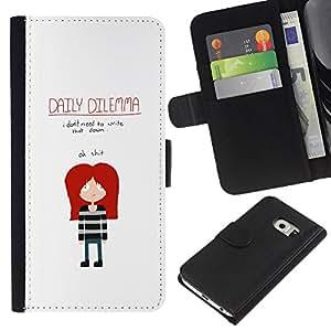 """JackGot ( Gracioso - Dilema diario Emo"""" ) Samsung Galaxy S6 EDGE (NOT S6) la tarjeta de Crédito Slots PU Funda de cuero Monedero caso cubierta de piel"""