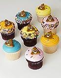 POOP Emoji Edible Sugar Cup Cake Cupcake Cookie Toppers Decorations 24 Count