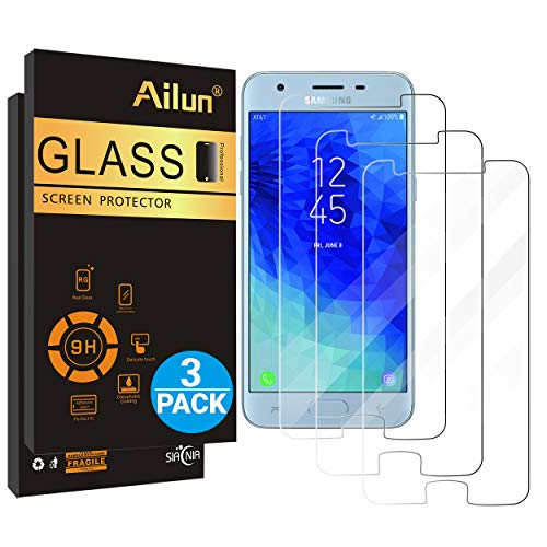 (Ailun Screen Protector for Galaxy J3 2018 3Pack Tempered Glass for Samsung Galaxy J3 Star 2018 SM J337 Amp Prime 3 2018 Galaxy J3 V 2018 Galaxy J3 Aura 2018 Galaxy Sol 3 2018 Case Friendly )