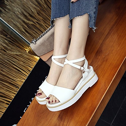The Fashion KPHY Soled The With Shoes Female White Sandals Shoes Fresh Platform Casual New Shoes Slope Korean Students Summer Of Small Version AwqvTr4xAp