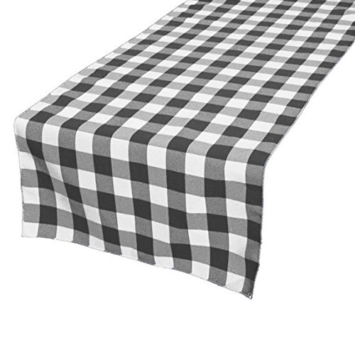 Gingham Table Runner (TRLYC Black & White Polyester Checkered Plaid Tablerunner for Thanksgiving, Christmas-14x120-Inch)