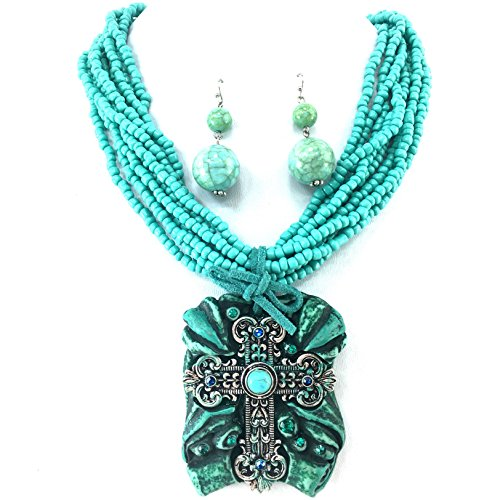 Pearl Turquoise Cross - Western Peak Chunky Tablet Cross Pearl Seed Bead Necklace with Earrings (Turquoise)