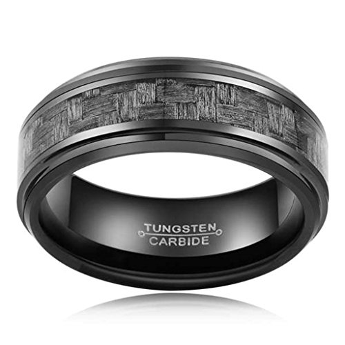 AnaZoz 8MM Grey Carbon Fiber Inlay Tungsten Carbide Engagement Rings for Men Size 13