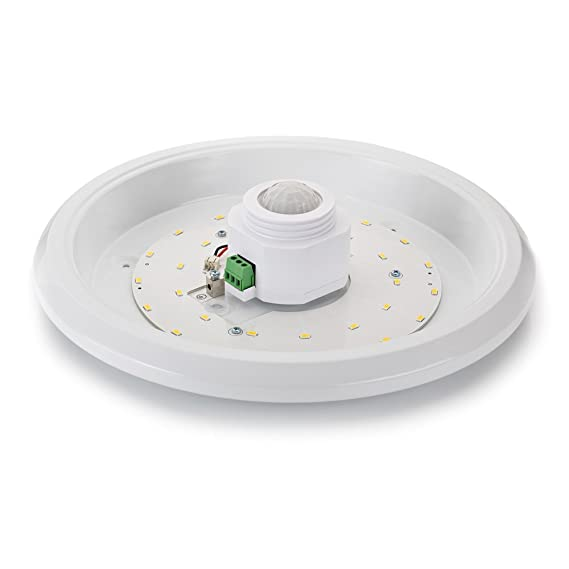 Sweet de - Lámpara LED de techo blanco con detector de movimiento, 360 ° Sensor, 16 W LED: Amazon.es: Iluminación