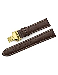 iStrap 18mm Calf Leather Watch Band Strap W/ Golden Tone Steel Push Button Deployment Buckle Brown