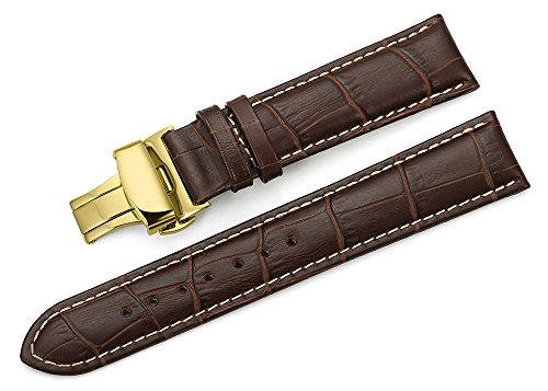iStrap 24mm Calf Leather Watch Band Strap W/ Golden Tone Steel Push Button Deployment Buckle Brown