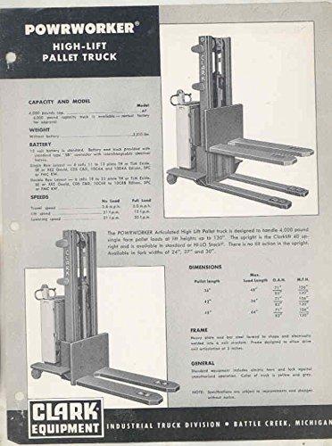 1958 Clark Powrworker High Lift Pallet Truck Brochure