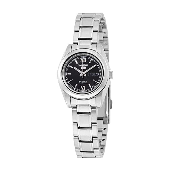 Seiko 5 #SYMK27 Womens Stainless Steel Black Dial Day Date Automatic Watch by Seiko Watches