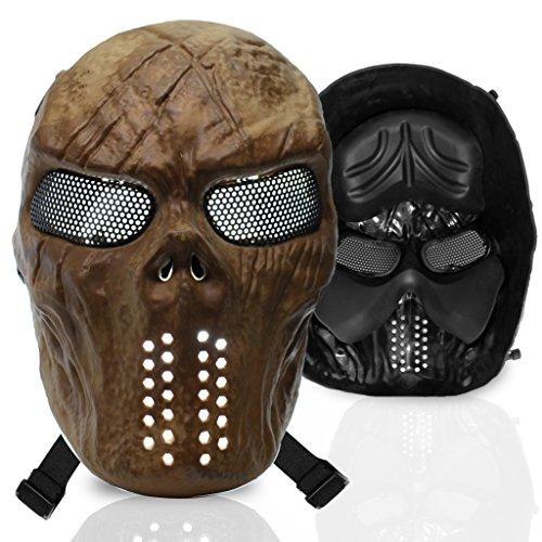 Stargoods Skeleton AirSoft Mask - Metal Mesh Paintball, BB Gun & CS Games - Gold (Predator Mask For Kids)