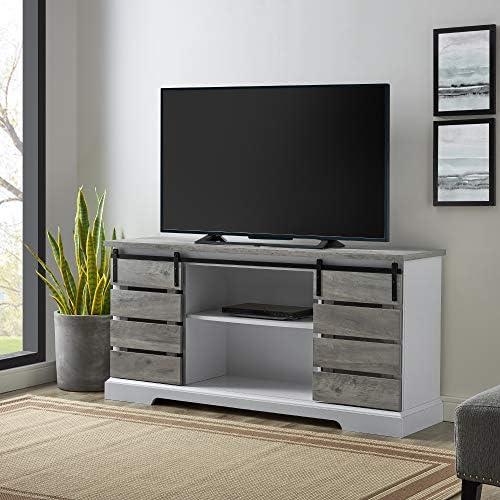 Walker Edison Furniture Company Farmhouse Sliding Slat Door TV Console, 58 Inch, Grey Wash