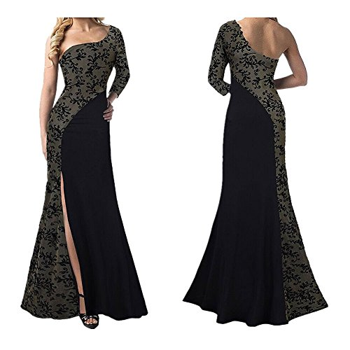 Women's Elegant Split Party Lace Dress Sexy Floor-Length One-Shoulder Stitching Ball Gown (L, (Halloween Ball Gowns)