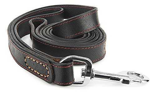 Leather Dog Leash – 6 ft Big Dog Training Leash - Double Handle Best for Pulling Medium and Large Pets – 6 Foot Long Heavy Duty Leather Lead - IMK9 Black