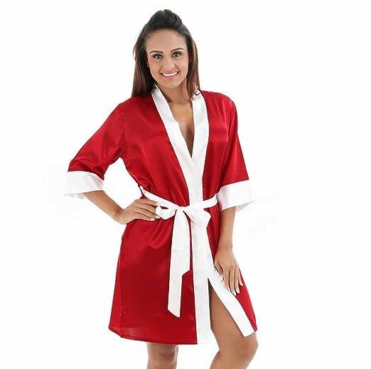 Elwow Lady s Short Oblique V-Neck Kimono Satin Wedding Bridesmaid Robe e68fe505a