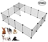 LANGXUN 16pcs Metal Wire Storage Cubes Organizer, DIY Small Animal Cage Rabbit, Guinea Pigs, Puppy | Pet Products Portable Metal Wire Yard Fence (Black, 16 Panels)