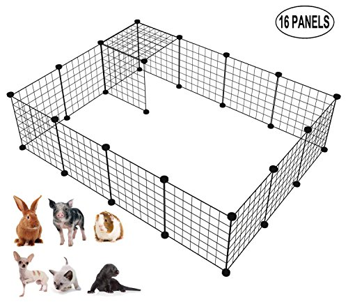 LANGXUN 16pcs Metal Wire Storage Cubes Organizer, DIY Small Animal Cage Rabbit, Guinea Pigs, Puppy | Pet Products Portable Metal Wire Yard Fence (Black, 16 Panels) by LANGXUN (Image #7)