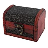 1 X Bronze Tone Embossed Flower Old Stye Wooden Jewelry Box Case
