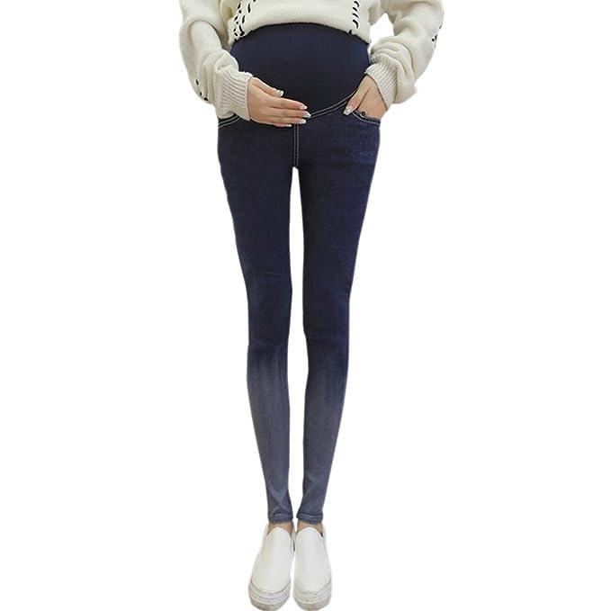 BOZEVON Nuevas Mujeres Embarazadas Pantalones Slim High Cintura Alta Pierna Flaca ...